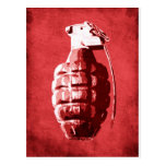 Hand Grenade on Red Postcards