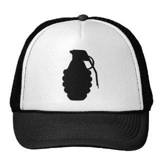 Hand Grenade Outline Silhouette Trucker Hats
