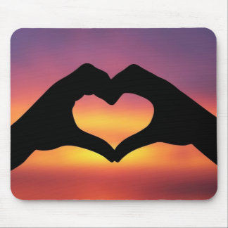 Hand Heart in the Sunset Mouse Pad