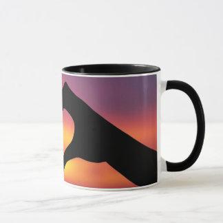 Hand Heart in the Sunset Mug