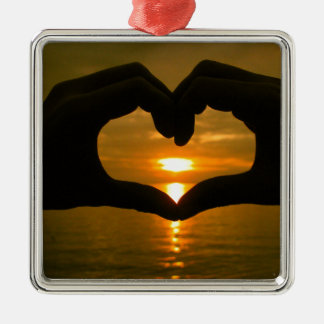Hand Heart over Sunset Metal Ornament