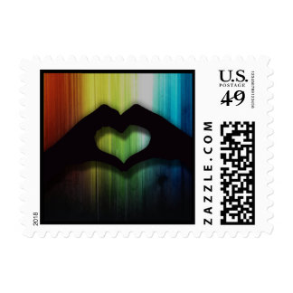 Hand hearts With Rainbow Lighted Wood Background Stamp