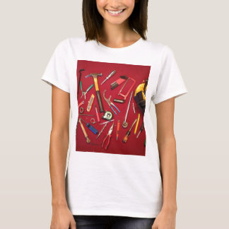 Hand held tools and tool bag red background T-Shirt