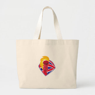 hand hold flaming torch british flag retro large tote bag