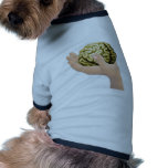 Hand holding a brain dog tee shirt