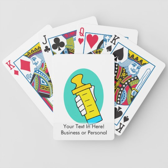 Hand holding abstract yellow baby bottle bicycle playing cards