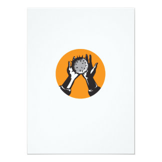 Hand Holding Ball with Spikes Circle Woodcut Card