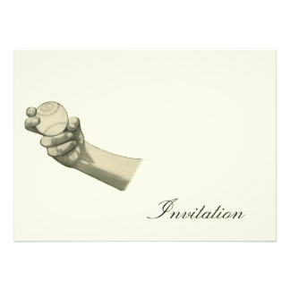 Hand Holding Baseball Illustration Custom Announcements