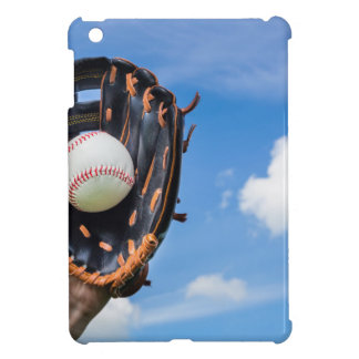 Hand holding baseball in glove with blue sky iPad mini cases