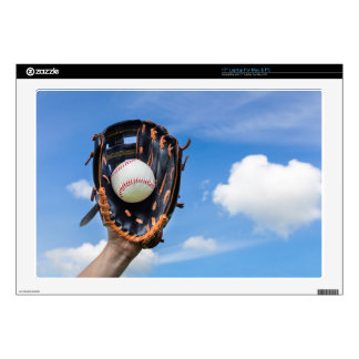 """Hand holding baseball in glove with blue sky skin for 17"""" laptop"""
