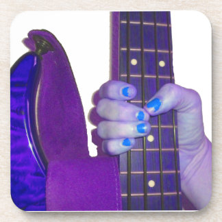Hand holding bass guitar blue and purple photo drink coaster
