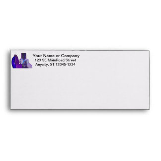 Hand holding bass guitar blue and purple photo envelope