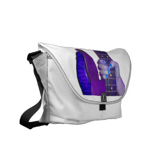 Hand holding bass guitar blue and purple photo messenger bag