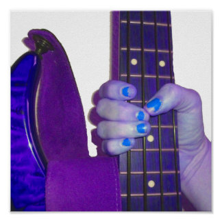 Hand holding bass guitar blue and purple photo poster