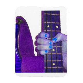 Hand holding bass guitar blue and purple photo rectangle magnets