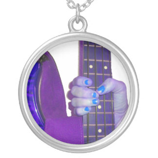 Hand holding bass guitar blue and purple photo silver plated necklace