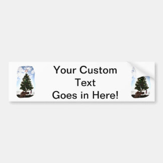 Hand Holding Christmas Tree Beach Sky Ocean Bumper Sticker