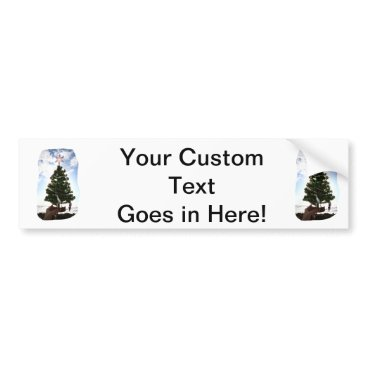 Beach Themed Hand Holding Christmas Tree Beach Sky Ocean Bumper Sticker