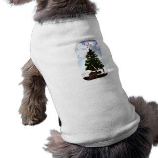 Hand Holding Christmas Tree Beach Sky Ocean Doggie Shirt