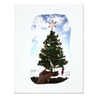 Hand Holding Christmas Tree Beach Sky Ocean 4.25x5.5 Paper Invitation Card