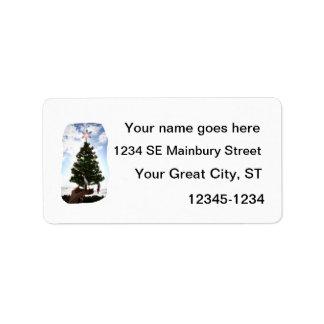 Hand Holding Christmas Tree Beach Sky Ocean Custom Address Label