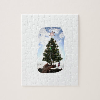 Hand Holding Christmas Tree Beach Sky Ocean Puzzle