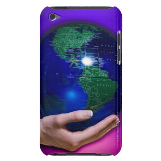 Hand holding earth barely there iPod case
