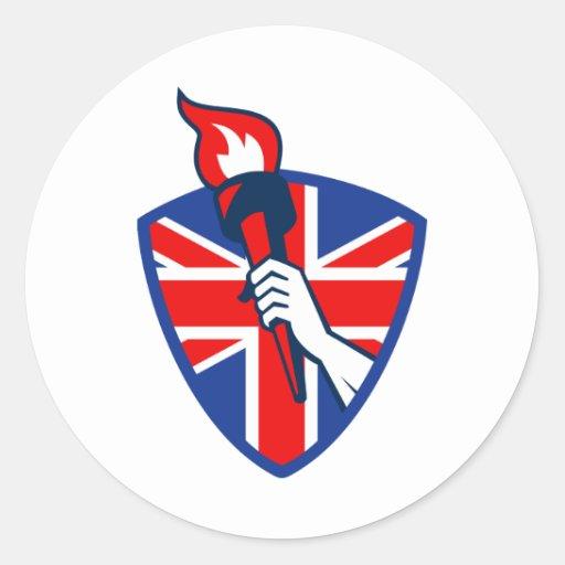 Hand Holding Flaming Torch British Flag Round Sticker