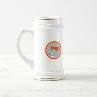 Hand Holding Flaming Torch Circle Retro Beer Steins