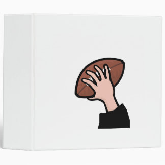 hand holding football 3 ring binder