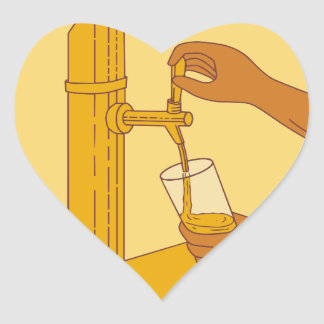 Hand Holding Glass Pouring Beer Tap Circle Drawing Heart Sticker