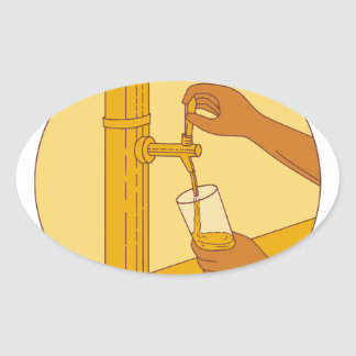Hand Holding Glass Pouring Beer Tap Circle Drawing Oval Sticker