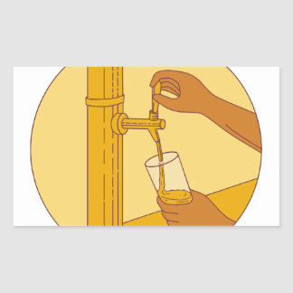Hand Holding Glass Pouring Beer Tap Circle Drawing Rectangular Sticker