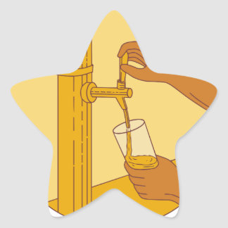 Hand Holding Glass Pouring Beer Tap Circle Drawing Star Sticker