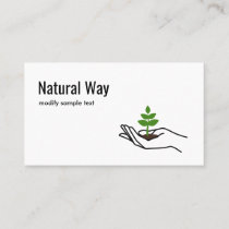 Hand Holding Green Leaves Plant Nature Logo Business Card