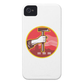 Hand Holding Hammer Factory Retro Case-Mate iPhone 4 Cases