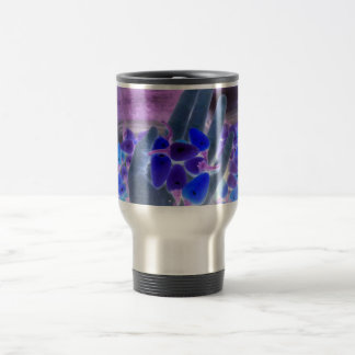 hand holding hot peppers colorized blue mug