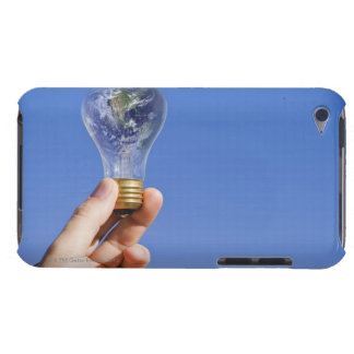 Hand holding lightbulb with globe barely there iPod cover