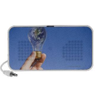 Hand holding lightbulb with globe mini speaker