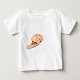 Hand holding model human brains isolated on white baby T-Shirt