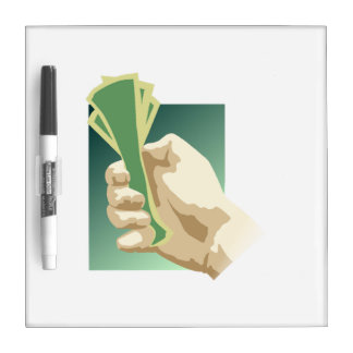 Hand Holding Money Dry-Erase Board