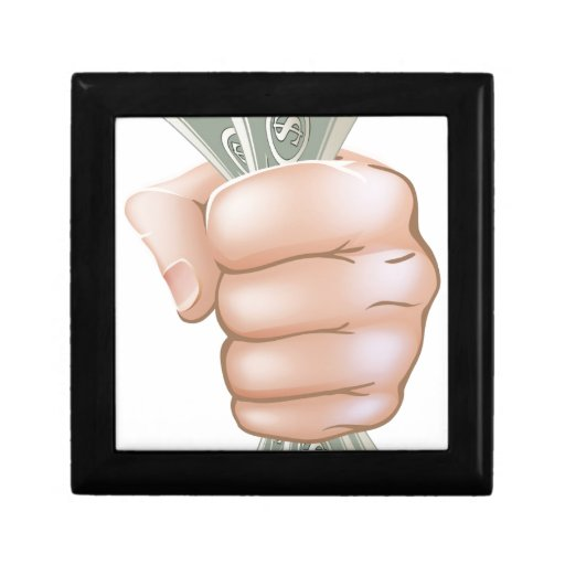 Hand holding money gift boxes