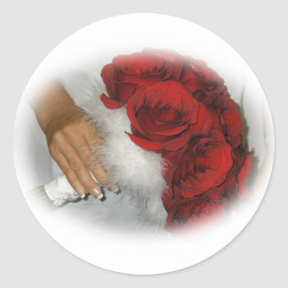 Hand Holding Red Rose Flowers Bouquet Sticker