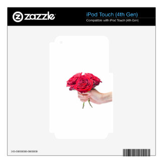 Hand holding red roses with water drops skins for iPod touch 4G