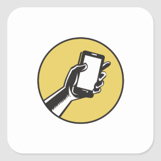 Hand Holding Smartphone Circle Woodcut Square Sticker