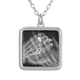 Hand Holding Square Pendant Necklace