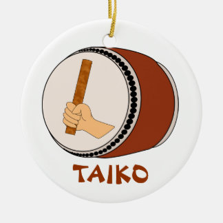 Hand Holding Stick Taiko Drum Japanese Drumming Double-Sided Ceramic Round Christmas Ornament