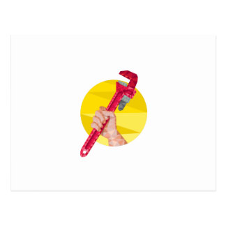 Hand Holding Wrench Circle Low Polygon Post Card