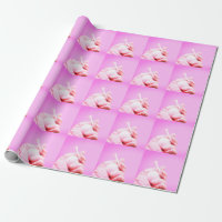 Hand holds golf ball and tee on pink background wrapping paper