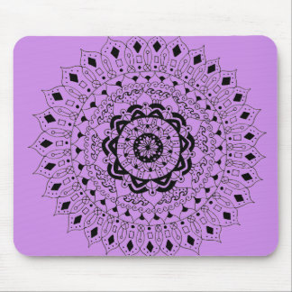 Hand Illustrated Artsy Floral Mandala Mouse Pad